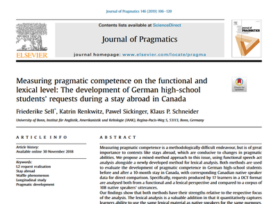 """""""Measuring pragmatic competence on the functional and lexical level: The development of German high-school students' requests during a stay abroad in Canada"""" by Friederike Sell, Katrin Renkwitz, Pawel Sickinger, Klaus P. Schneider"""
